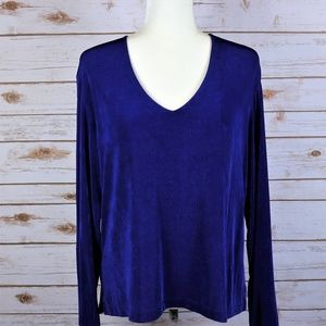 Chicos Travelers Blue V neck Long sleeve Top 3 XL